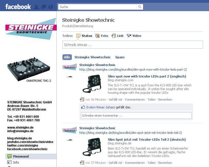 Steinigke Showtechnic auf Facebook